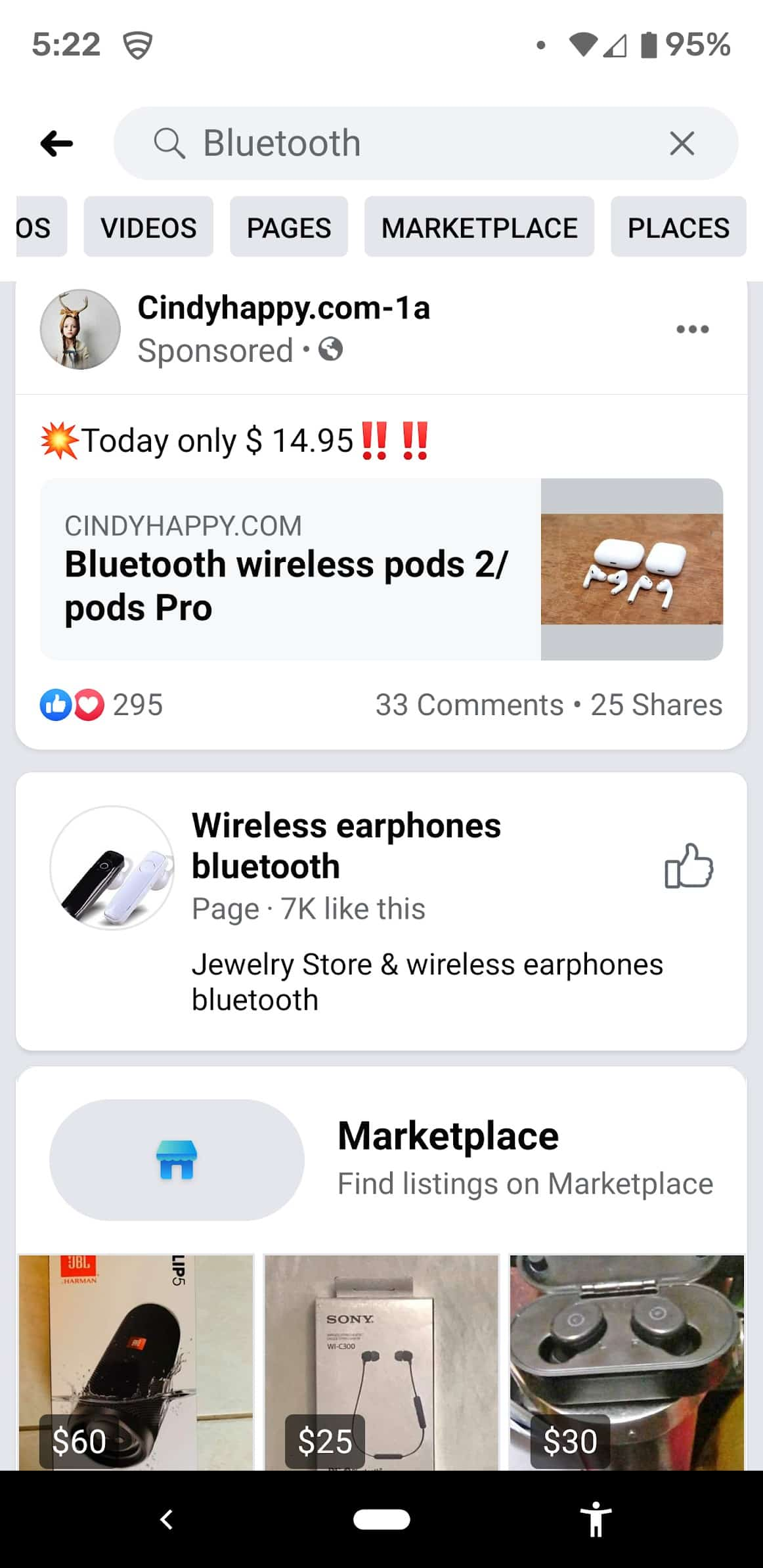 Facebook Search Ads Screenshot